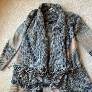 Oversized wrap sweater with frayed edges